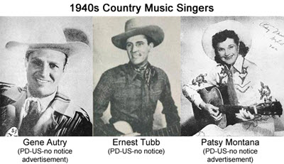 1940's The Singing Cowboys of Country and Western Well known Musicians