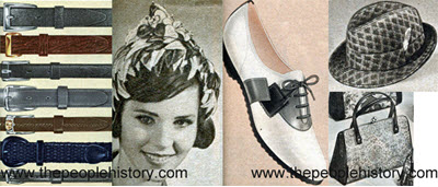 Fashion Accessories Examples From 1961 including Mens Belts, Velvet Pixie Hat, Saddle Shoe, Jacquard Knit Hat, Tapestry Bag
