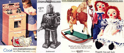 1961 Toys including Electric Toy Stove, Astronaut Robot, Rocking Horse, Raggedy Ann and Andy