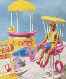Lifeguard Stand with Wet 'N Wild Ken Doll From The 1990s