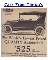 Examples Of Cars Available with Images / Prices and Descriptions From The 1920's