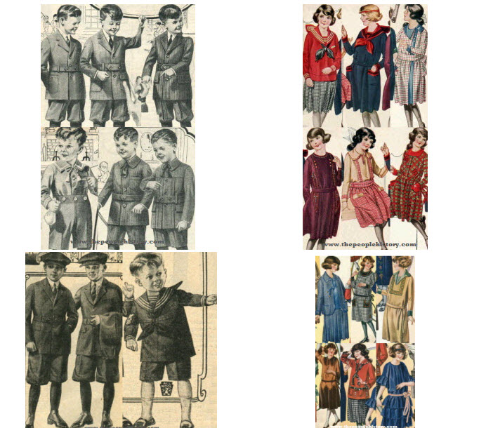 1922 and 1923 Boys and Girls Childrens Clothes