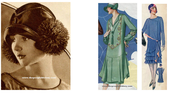 Twenties Flapper Clothes including Hat and Flapper Dresses and Skirts