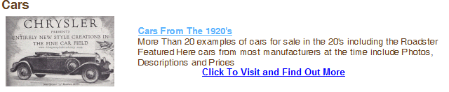 Click To Visit Our Twenties Cars Section