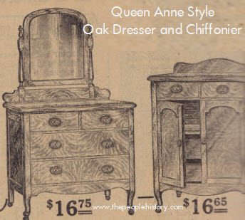 Queen Anne Style Oak Dresser and Chiffonier