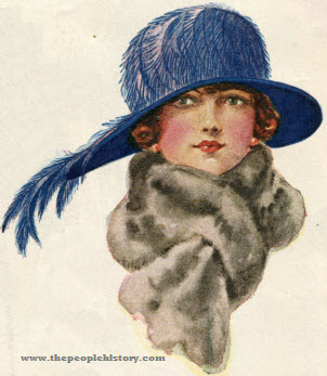 Nacre Feather Trim Hat 1923