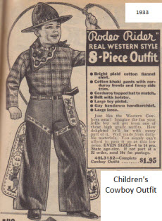 Children's Rodeo Rider clothes to use as Play Clothes From The 30's
