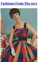 Examples with images, prices and Descriptions Of Fashions From The Fifties