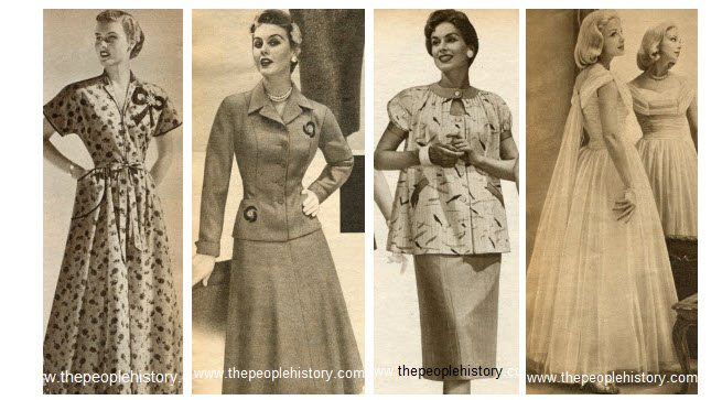 Clothes and men's and ladies fashions in the 1950's prices ...
