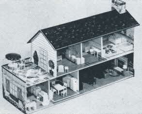 Suburban Colonial Dollhouse From The 1950s