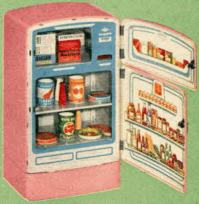 2-Door Pink Toy Refrigerator From The 1950s