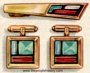 Venice Cuff Links and Clip 1956