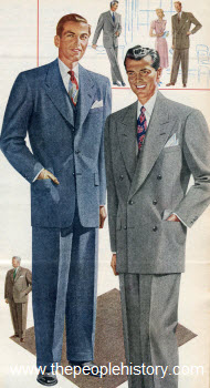 Sharkskin Fabric Suit 1950