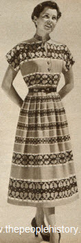 Smart Print Mandarin Collar Dress 1950