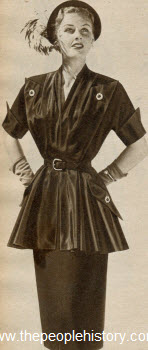 Crepe and Taffeta Tunic Dress 1951