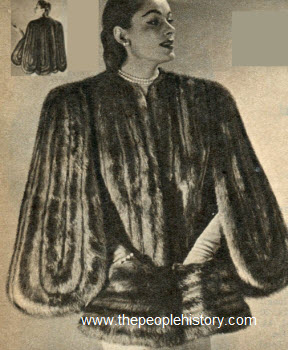 Mink Dyed Coney Fur Sling Cape 1951