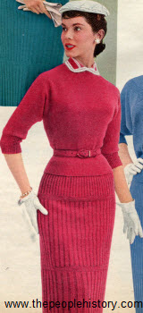Chenille Wool Two Piece Dress 1955