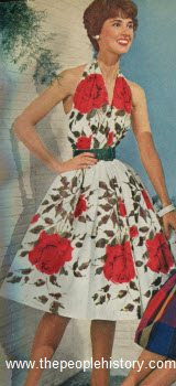 Rose Pattern Halter Dress 1959