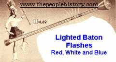 Twirling Red, White and Blue Light Up Baton From The 1960s