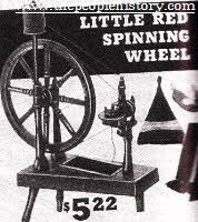 Little Red Childrens Spinning Wheel From The 1960s