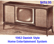 Early 60's Danish Style Entertainment System inc TV, Radio and Record Player