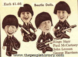 The Beatles Dolls including John, Paul, George and Ringo From The 1960s
