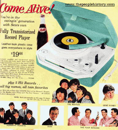 Record Player and Popular Music 45's Singles From The 1960s