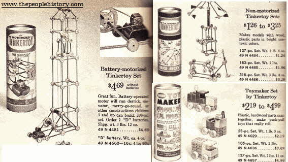 Tinker Toys Construction Sets  From The 1960s