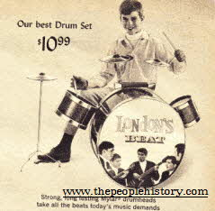 Drum Set with 21 1/2 inch base drum foot operated, high hat cymbal, 2 cowbells and drum sticks just like pop groups of the 1960's