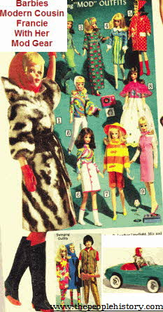 Mid 1960s Barbie's Trendy Cousin Francie with all her MOD gear