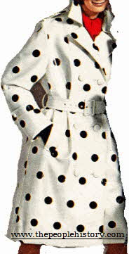 White Plastic Ladies Coat with a flash of black dots