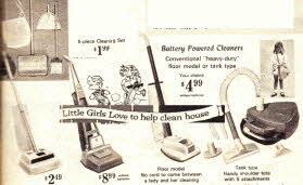 Little Girl Loves To Clean appliances From The 1960s
