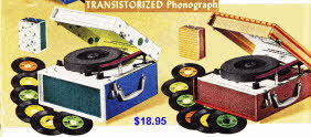 Vintage Transistorised Phonograph to play popular swinging sixties music with speaker
