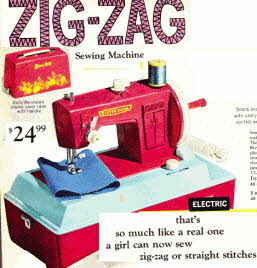 Little Girls Zig Zag Sewing Machine  From The 1960s