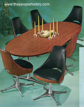 1966 Chrome and Woodgrain Modern Table Set