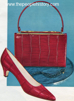 1963 Red Crocodile Shoe and Bag