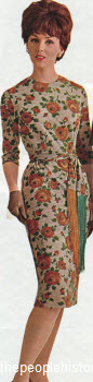 1963 Floral Jersey Sheath Dress
