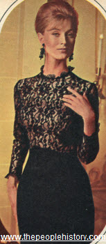 1965 Black Lace and Cotton Sheath Dress