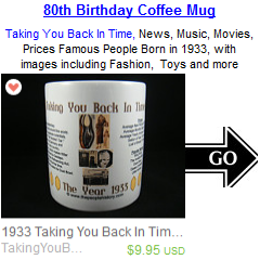 80th Birthday Born in 1933 Coffee Mug