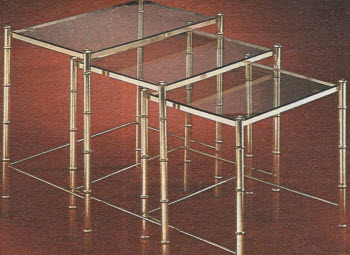 1981 Brass Bamboo Nested Tables