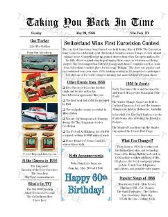 Newspaper Front Page Personalized Birthday Print