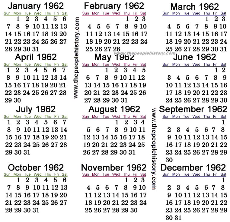 1962 Calendar | New Calendar Template Site
