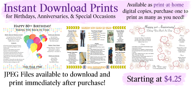 Pre-made prints for milestone birthdays and anniversaries with messages already added