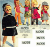 Fashion Mod Dress Dolls Wearing Swinging Sixties Fashion Clothes.