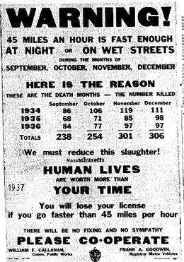 August 30th 1937 new speed limit 45 MPH