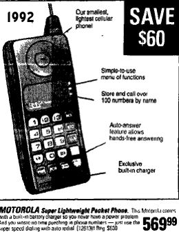August 28th 1992 The latest in Mobile Phones from Motorolla