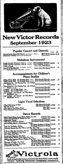 August 25th 1923 Victor Records