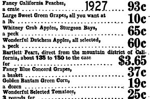 1927 September 10th Food Prices