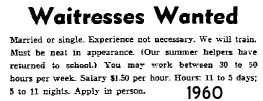 September 11th 1960 Waitress Job