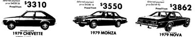 Sepember 22nd 1979 Chevy Nova, Monza and Chevette